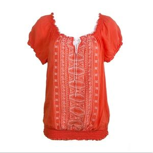 IZ BYER | Embroidered Tie String Coral Top | Small